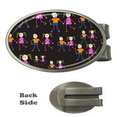 Kids Tile A Fun Cartoon Happy Kids Tiling Pattern Money Clips (oval)