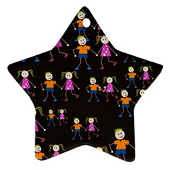 Kids Tile A Fun Cartoon Happy Kids Tiling Pattern Star Ornament (Two Sides)