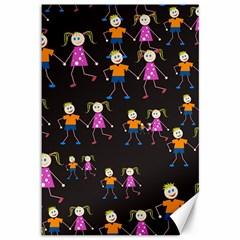 Kids Tile A Fun Cartoon Happy Kids Tiling Pattern Canvas 12  x 18