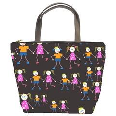 Kids Tile A Fun Cartoon Happy Kids Tiling Pattern Bucket Bags