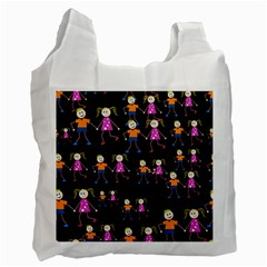 Kids Tile A Fun Cartoon Happy Kids Tiling Pattern Recycle Bag (one Side)