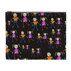 Kids Tile A Fun Cartoon Happy Kids Tiling Pattern Cosmetic Bag (XL)