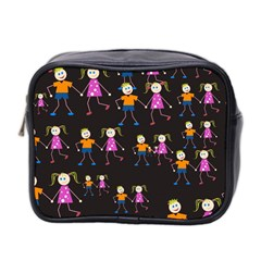Kids Tile A Fun Cartoon Happy Kids Tiling Pattern Mini Toiletries Bag 2-Side