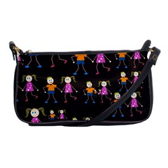 Kids Tile A Fun Cartoon Happy Kids Tiling Pattern Shoulder Clutch Bags