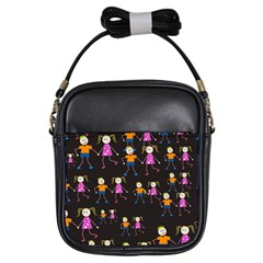 Kids Tile A Fun Cartoon Happy Kids Tiling Pattern Girls Sling Bags