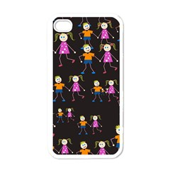 Kids Tile A Fun Cartoon Happy Kids Tiling Pattern Apple Iphone 4 Case (white)