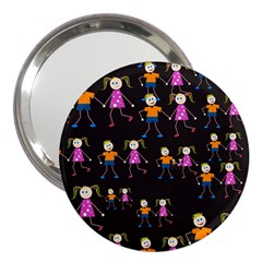 Kids Tile A Fun Cartoon Happy Kids Tiling Pattern 3  Handbag Mirrors