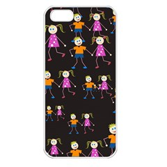 Kids Tile A Fun Cartoon Happy Kids Tiling Pattern Apple Iphone 5 Seamless Case (white)