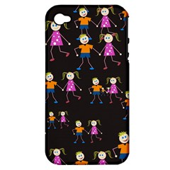 Kids Tile A Fun Cartoon Happy Kids Tiling Pattern Apple iPhone 4/4S Hardshell Case (PC+Silicone)