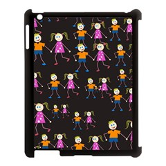 Kids Tile A Fun Cartoon Happy Kids Tiling Pattern Apple iPad 3/4 Case (Black)