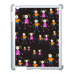 Kids Tile A Fun Cartoon Happy Kids Tiling Pattern Apple Ipad 3/4 Case (white)