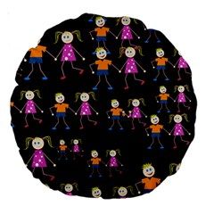 Kids Tile A Fun Cartoon Happy Kids Tiling Pattern Large 18  Premium Round Cushions