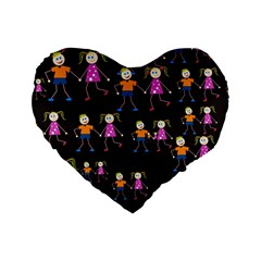 Kids Tile A Fun Cartoon Happy Kids Tiling Pattern Standard 16  Premium Heart Shape Cushions