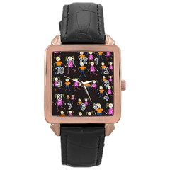Kids Tile A Fun Cartoon Happy Kids Tiling Pattern Rose Gold Leather Watch