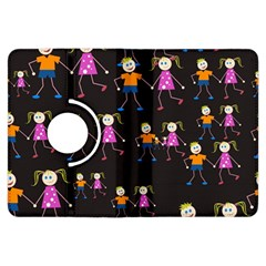 Kids Tile A Fun Cartoon Happy Kids Tiling Pattern Kindle Fire HDX Flip 360 Case