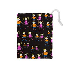 Kids Tile A Fun Cartoon Happy Kids Tiling Pattern Drawstring Pouches (medium)