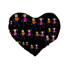 Kids Tile A Fun Cartoon Happy Kids Tiling Pattern Standard 16  Premium Flano Heart Shape Cushions