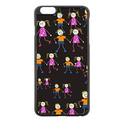 Kids Tile A Fun Cartoon Happy Kids Tiling Pattern Apple iPhone 6 Plus/6S Plus Black Enamel Case