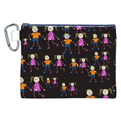 Kids Tile A Fun Cartoon Happy Kids Tiling Pattern Canvas Cosmetic Bag (XXL)