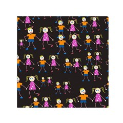 Kids Tile A Fun Cartoon Happy Kids Tiling Pattern Small Satin Scarf (square)
