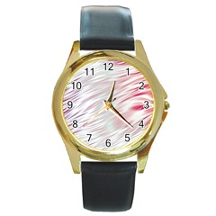 Fluorescent Flames Background With Special Light Effects Round Gold Metal Watch
