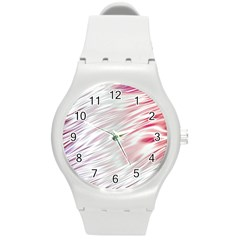 Fluorescent Flames Background With Special Light Effects Round Plastic Sport Watch (m)