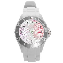 Fluorescent Flames Background With Special Light Effects Round Plastic Sport Watch (L)