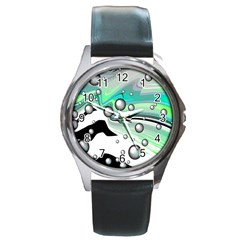 Small And Big Bubbles Round Metal Watch