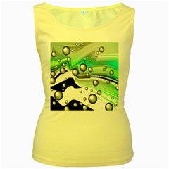 Small And Big Bubbles Women s Yellow Tank Top