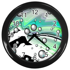 Small And Big Bubbles Wall Clocks (Black)