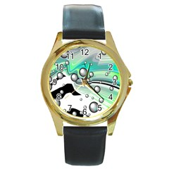 Small And Big Bubbles Round Gold Metal Watch