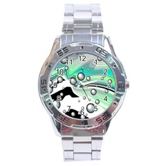 Small And Big Bubbles Stainless Steel Analogue Watch