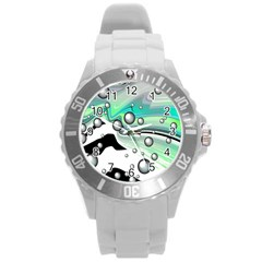 Small And Big Bubbles Round Plastic Sport Watch (l)