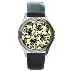 Completely Seamless Tileable Doodle Flower Art Round Metal Watch