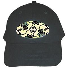 Completely Seamless Tileable Doodle Flower Art Black Cap