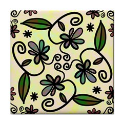 Completely Seamless Tileable Doodle Flower Art Tile Coasters