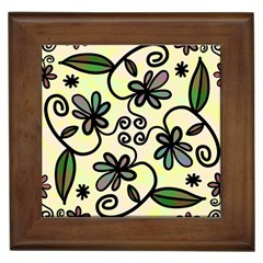 Completely Seamless Tileable Doodle Flower Art Framed Tiles