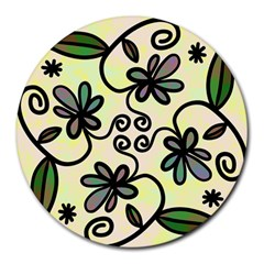 Completely Seamless Tileable Doodle Flower Art Round Mousepads
