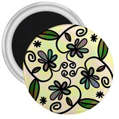 Completely Seamless Tileable Doodle Flower Art 3  Magnets
