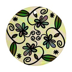 Completely Seamless Tileable Doodle Flower Art Ornament (round)