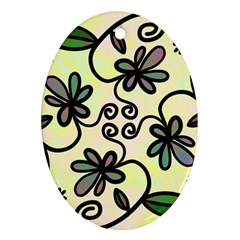 Completely Seamless Tileable Doodle Flower Art Ornament (oval)