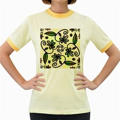 Completely Seamless Tileable Doodle Flower Art Women s Fitted Ringer T Shirts
