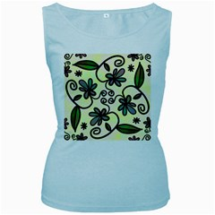 Completely Seamless Tileable Doodle Flower Art Women s Baby Blue Tank Top