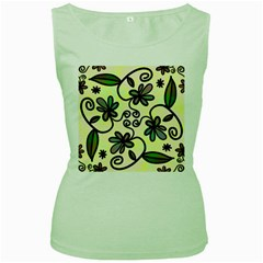Completely Seamless Tileable Doodle Flower Art Women s Green Tank Top