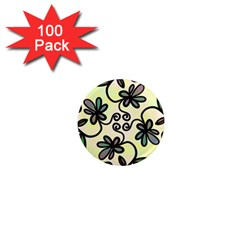 Completely Seamless Tileable Doodle Flower Art 1  Mini Magnets (100 pack)