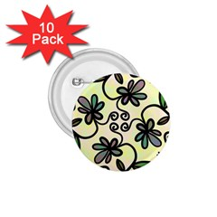 Completely Seamless Tileable Doodle Flower Art 1.75  Buttons (10 pack)