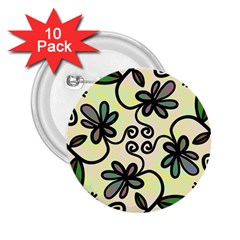 Completely Seamless Tileable Doodle Flower Art 2.25  Buttons (10 pack)