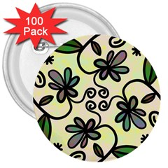 Completely Seamless Tileable Doodle Flower Art 3  Buttons (100 pack)