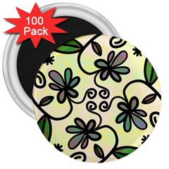Completely Seamless Tileable Doodle Flower Art 3  Magnets (100 pack)