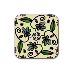 Completely Seamless Tileable Doodle Flower Art Rubber Square Coaster (4 pack)